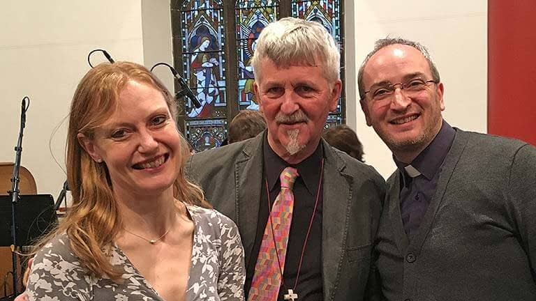Helen, John and Nick relax with smiles after the broadcast