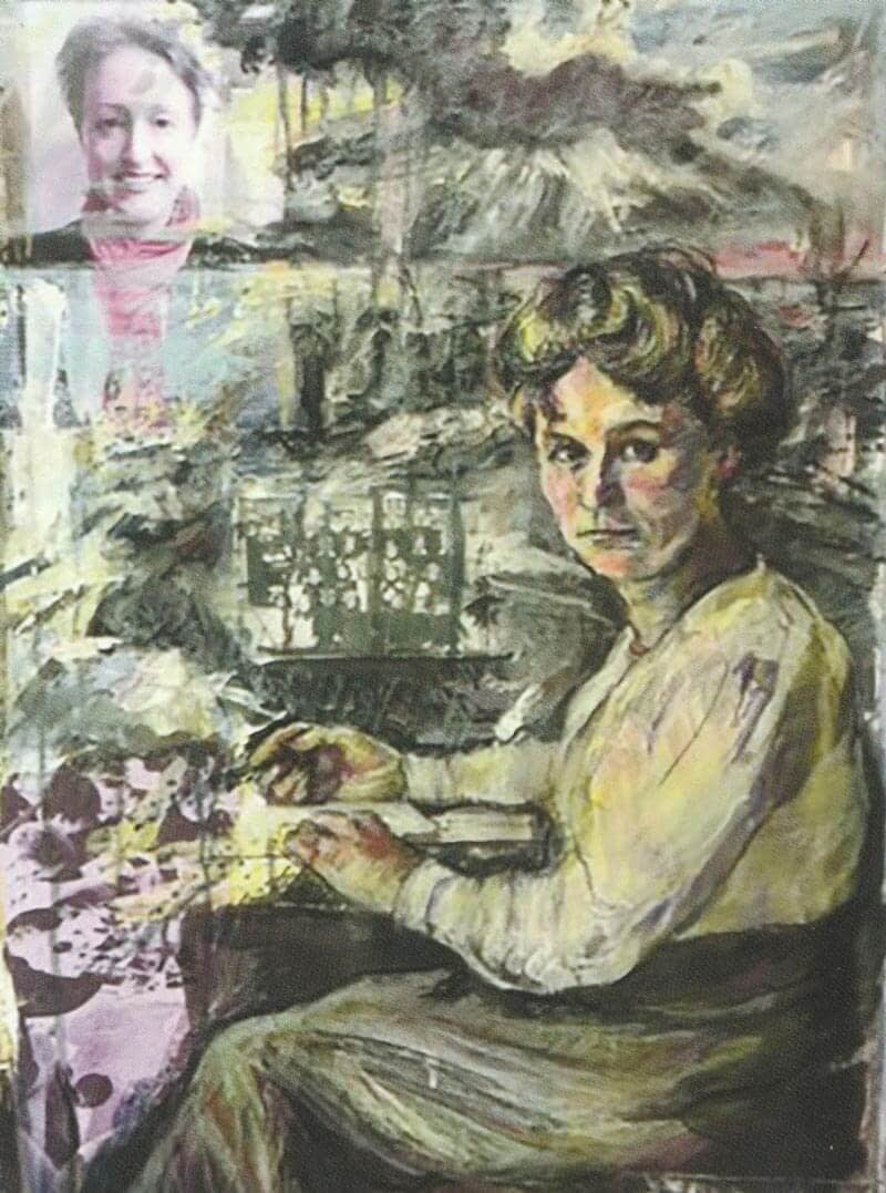 Portrait of a woman sitting at a writing desk, with a photo inset of the headteacher of St Wilfrid's CE