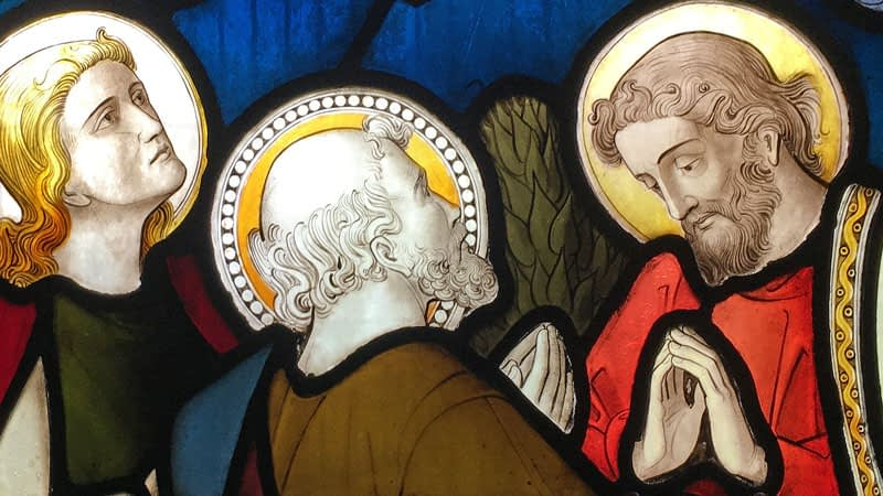 Detail from a stained glass window in St James church