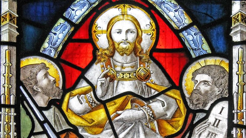 Detail of a stained glass window at St James