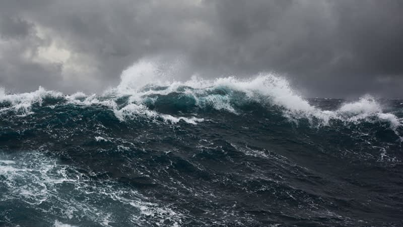 Waves in a stormy sea