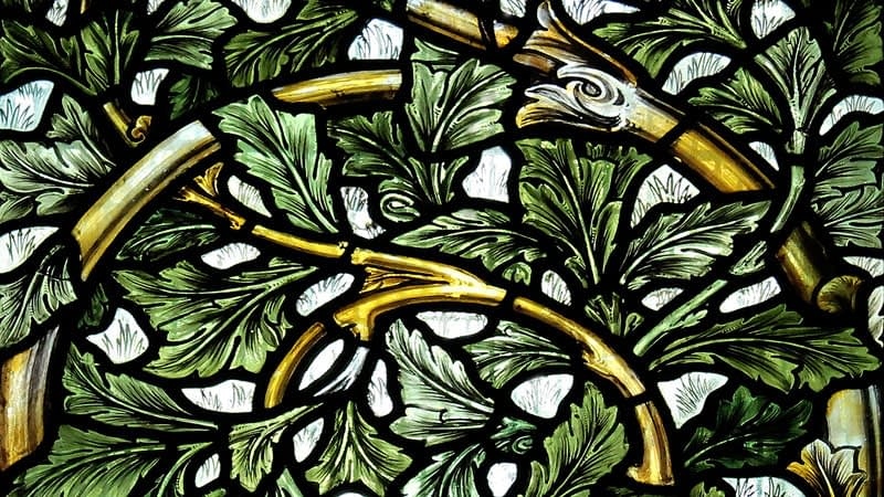Detail of the William Morris stained glass window in Emmanuel