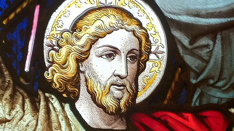 Detailed of stained glass from St James, depicting Jesus