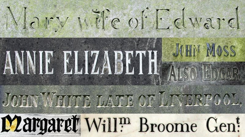 Montage of various names found on memorials and windows in St James and Emmanuel churches
