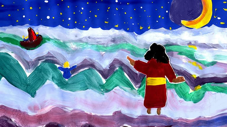 Children's painting of Jesus walking on water