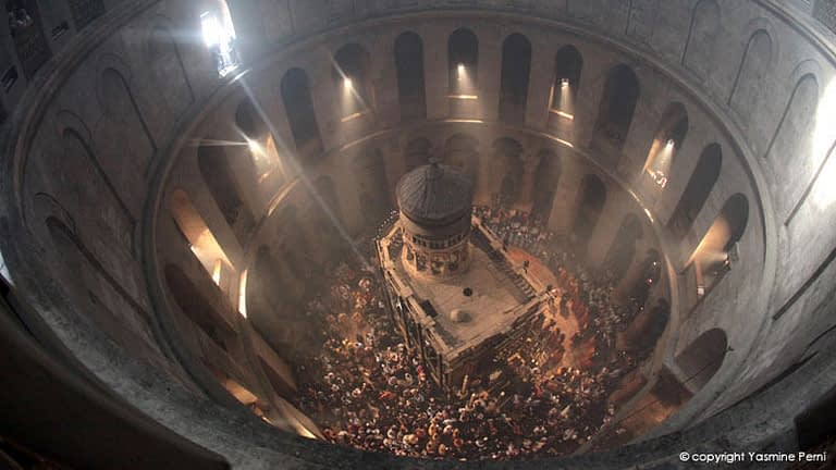 A scene from the film showing an aerial view of a sacred church
