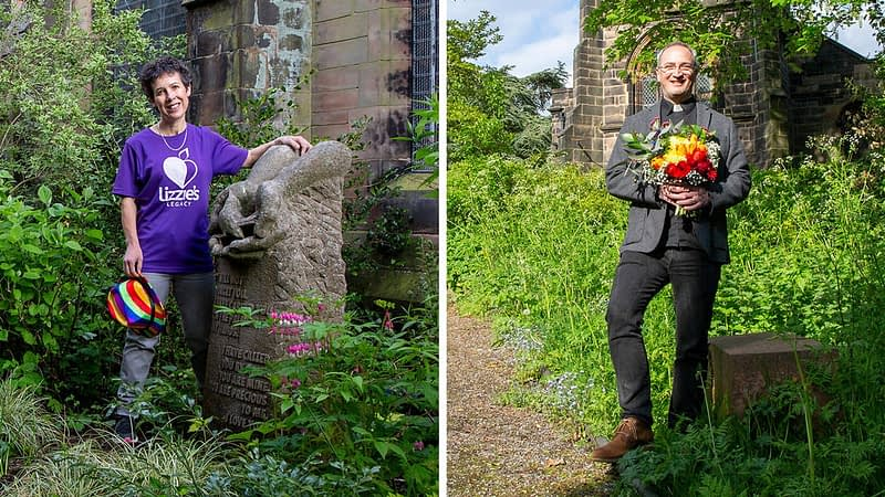 Nick Bundock outside St James church and Hilary Lowe next to a stone carved memorial to her daughter Lizzie