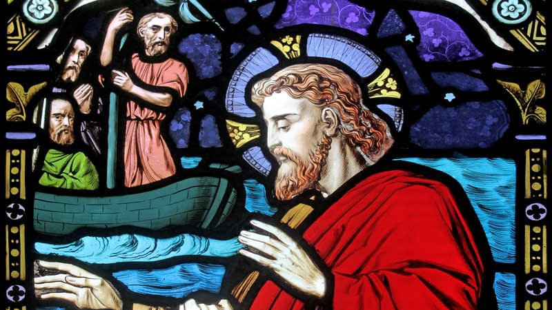 Detail of a stained glass window in Emmanuel depicting Jesus with the disciples on the Sea of Galilee
