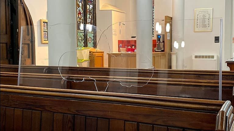 Acrylic screens in St James pews