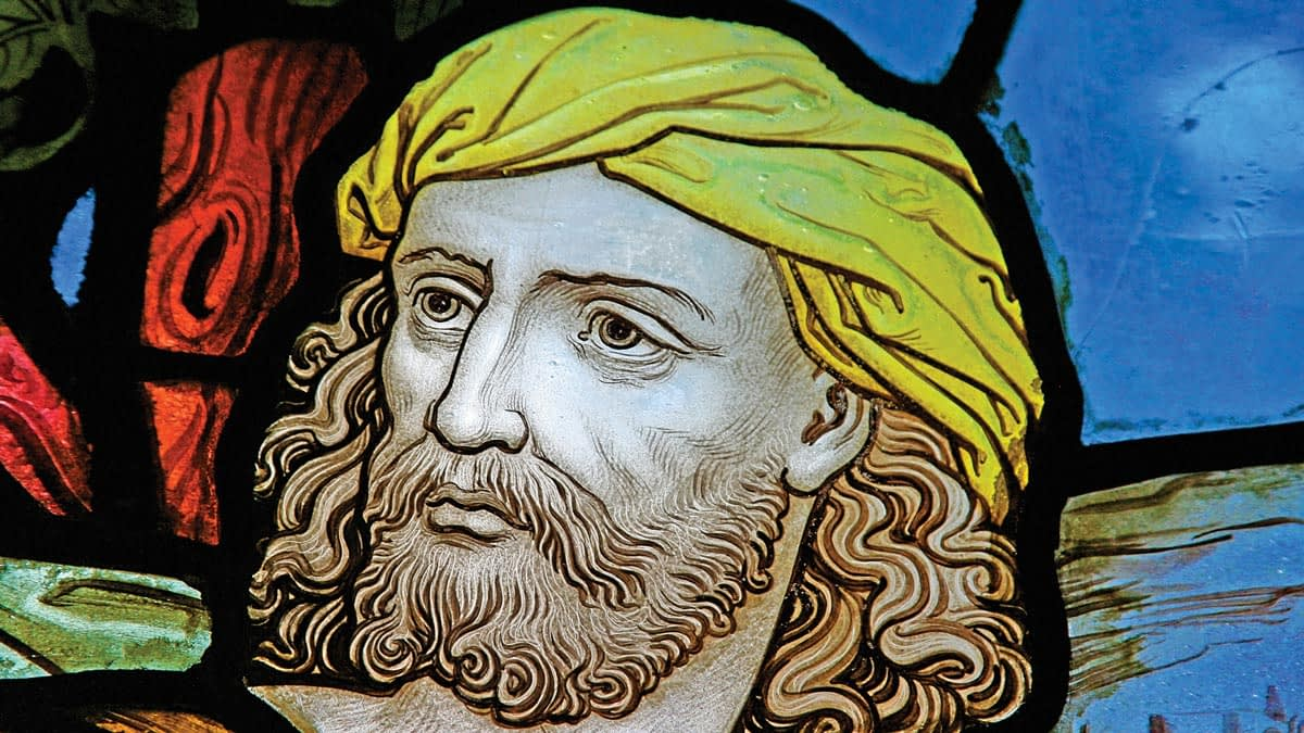 Detail of stained glass window from Emmanuel depicting Jesus