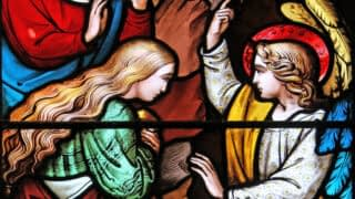 Emmanuel stained glass window depicting the angel at the empty tomb