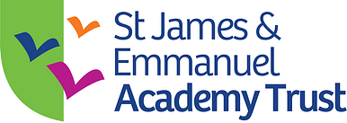 3 line version of the Trust logo in the shape of a shield, combined with the bird icons from the St James and Emmanuel parish logo