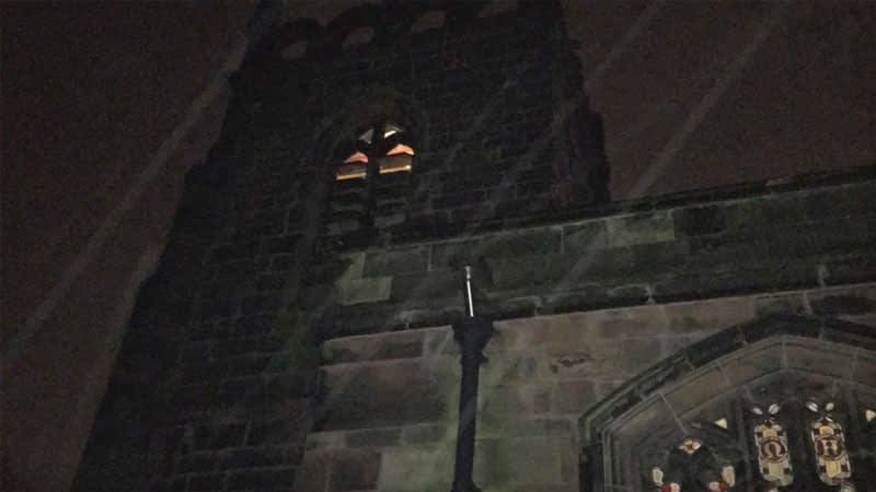 St James bell tower at night