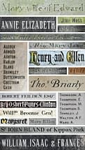 Montage of names from various memorials in both St James and Emmanuel churches