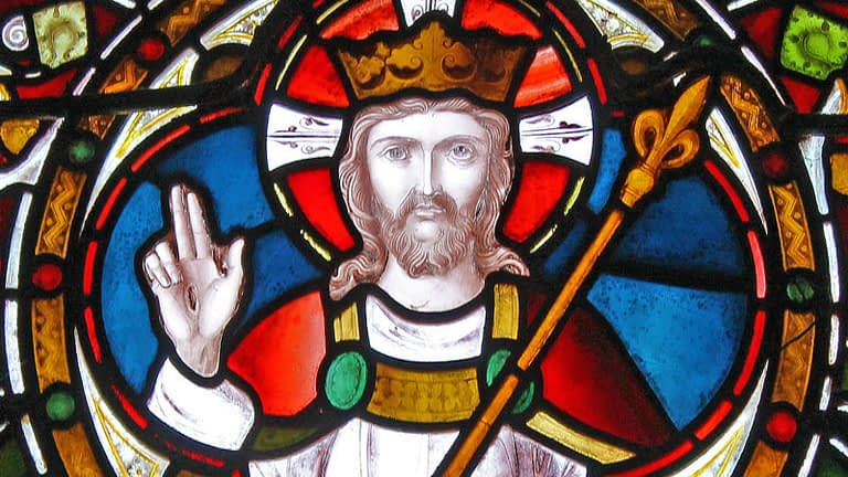 Detail of stained glass window from Emmanuel church, featuring Christ enthroned