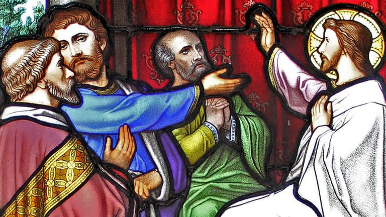 Detail of Emmanuel church stained glass window showing Christ preaching