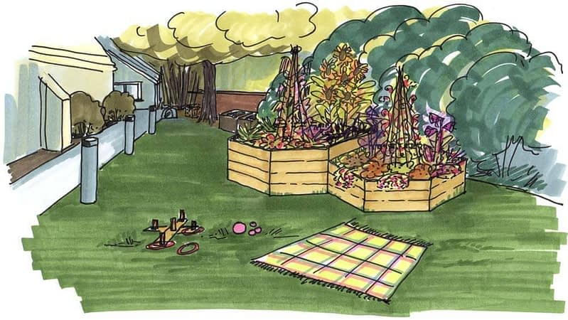 Visual of two hexagonal wooden planters and a picnic area next to Emmanuel church