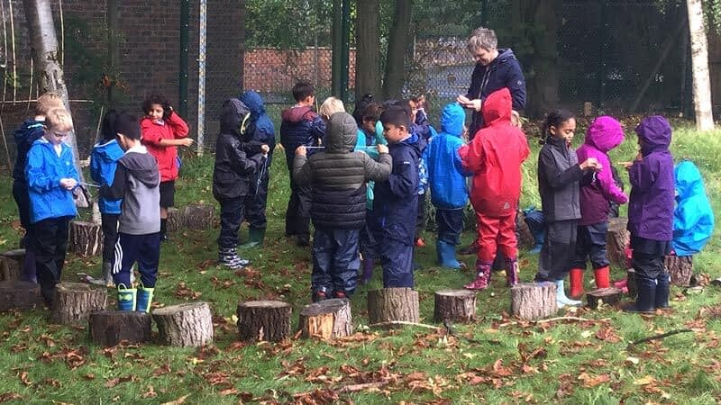 A class group gather round tree trunk stools as they learn Forest School skills