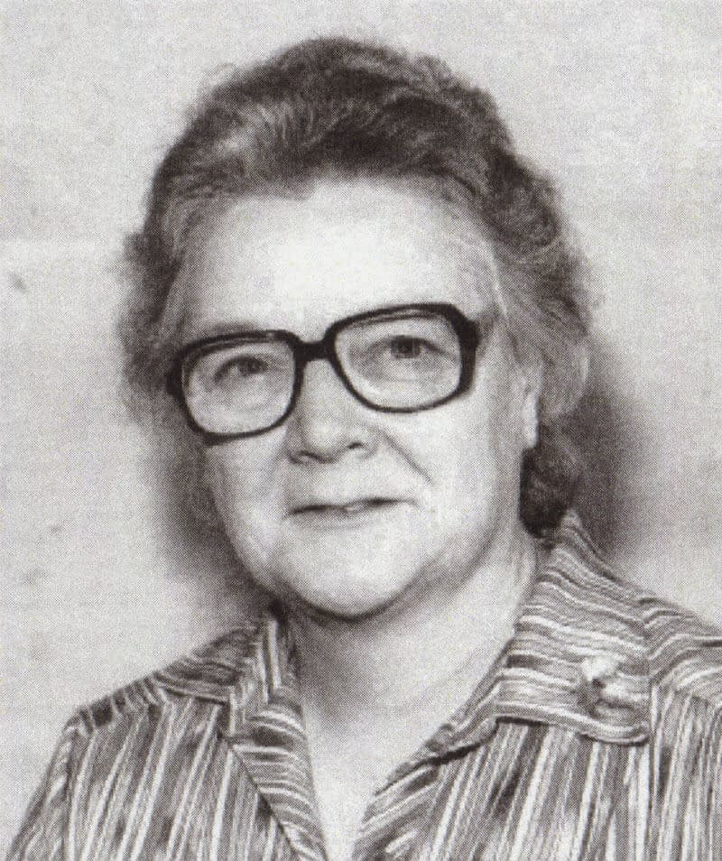 Black and white headshot of Jean in her 60s, used for the cover of the funeral order of service