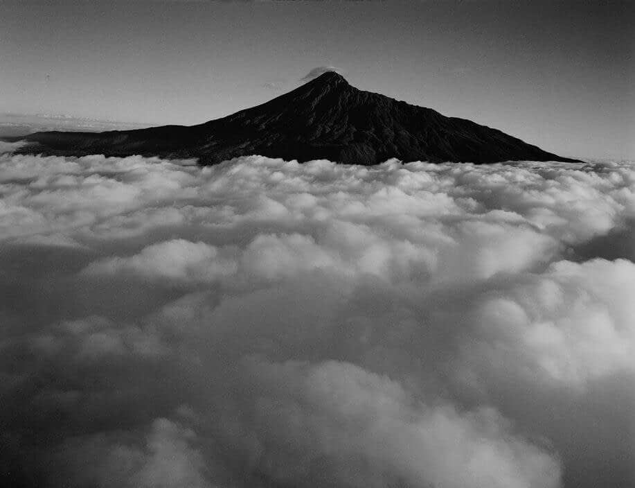 Kilimanjaro above the clouds with snow on its peak